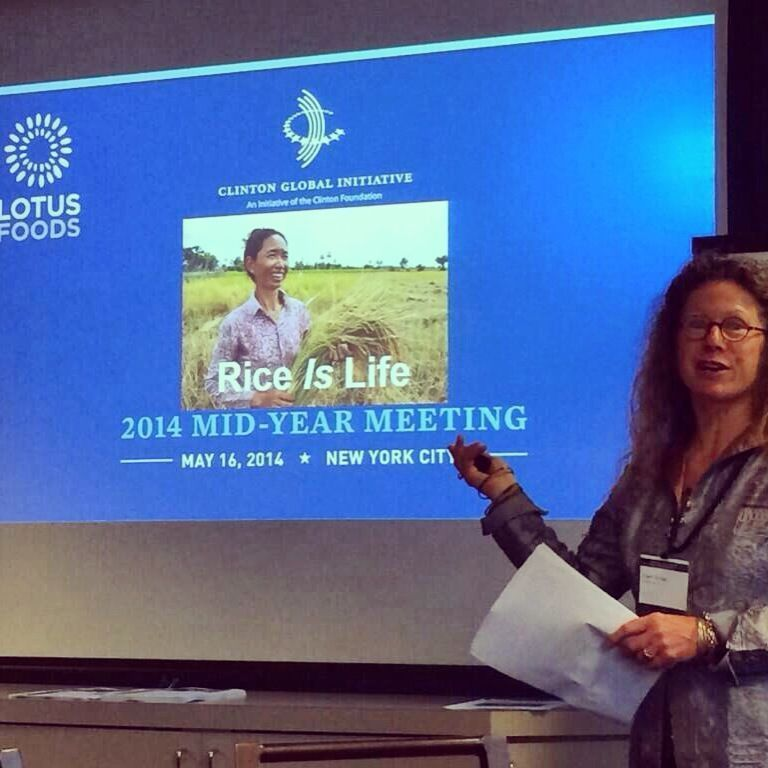 Co-Founder, Co-Owner Caryl Levine presents to the Clinton Global Initiative about why we're passionate about growing rice more sustainably - for people & the planet! Thanks to B Corporation founder Andrew Kassoy for the photo! #MoreCropPerDrop #BtheChange #CGI