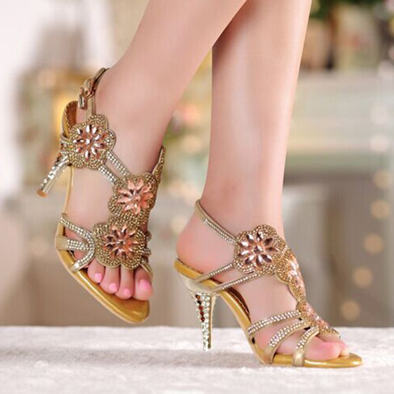 Summer Cool Middle High Heel Wedding Dresses Shoe Sandals Beaded ...