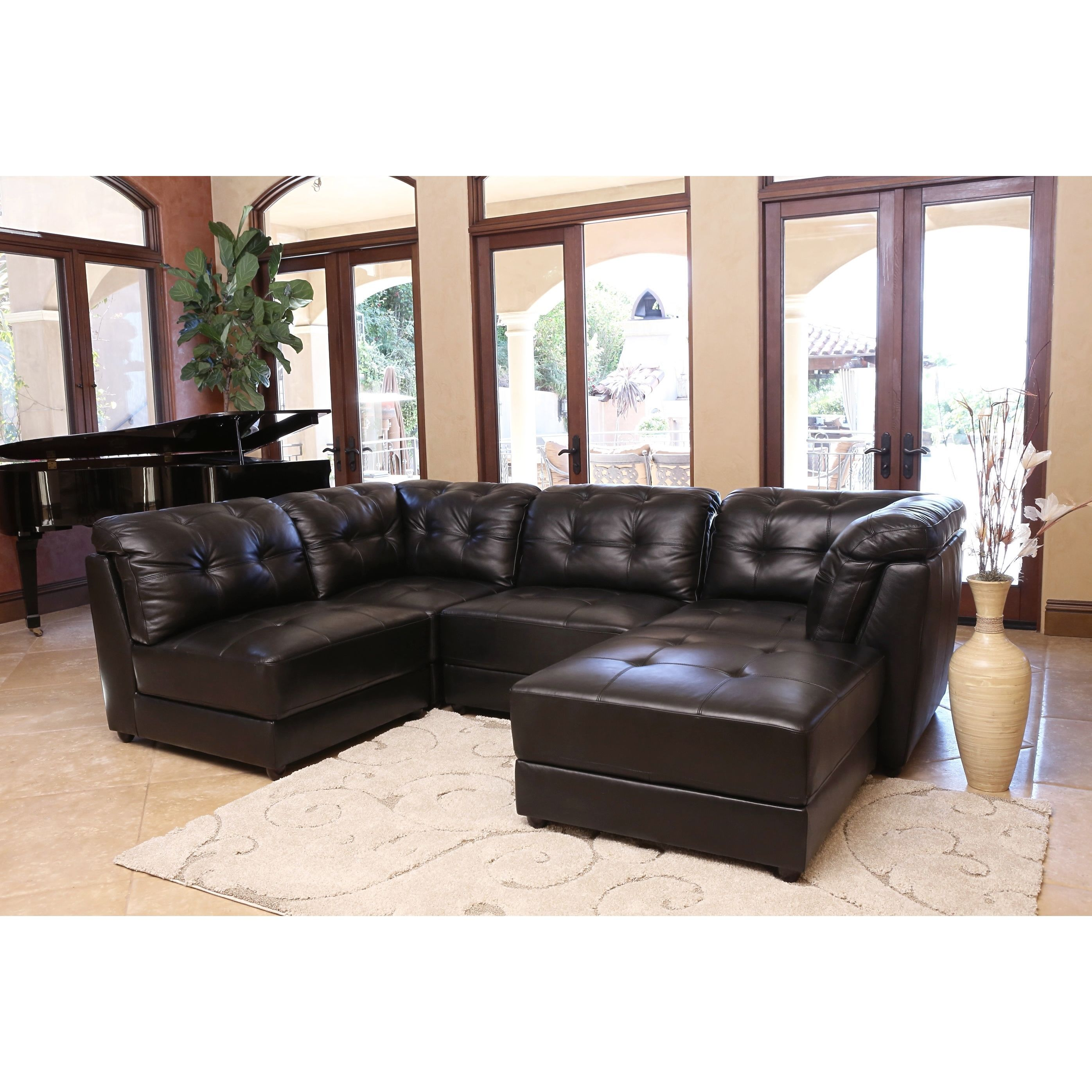 Abbyson Ella 5-piece Black Modular Leather Sectional by Abbyson  sc 1 st  Pinterest : 5 piece leather sectional - Sectionals, Sofas & Couches