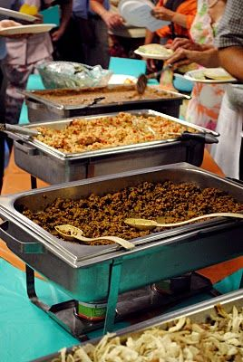 Taco Bar For Reception Meal With Carnitas Rice And Beans All The Toppings