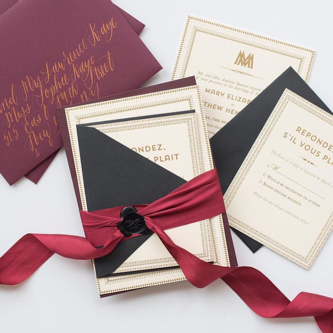 silk ribbon wax seal burgundy gold foil wedding invitation double ...