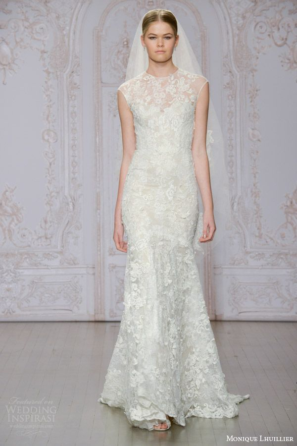 Monique Lhuillier Fall 2015 | Stella cap sleeve illusion neckline lace wedding dress.