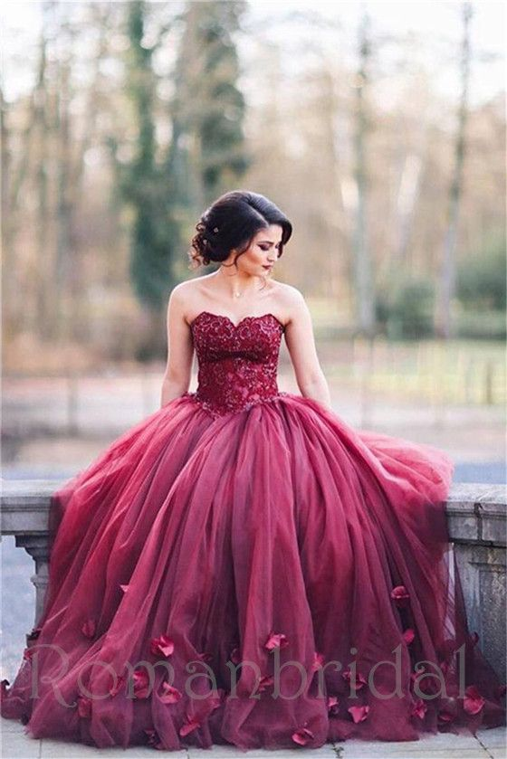 A-line charming long puffy burgundy prom dress, Red Wedding Dress ...