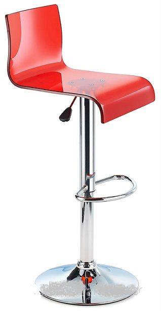 Snazzy Acrylic Adj Bar Stool With Swivel Seat Red