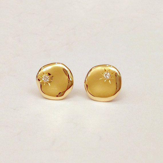 Tiny Gold Stud Earrings Minimalist Gold Earrings Geometric Gold Earrings Gold Post Earrings Gold Nugget Earrings Simple Gold Earrings