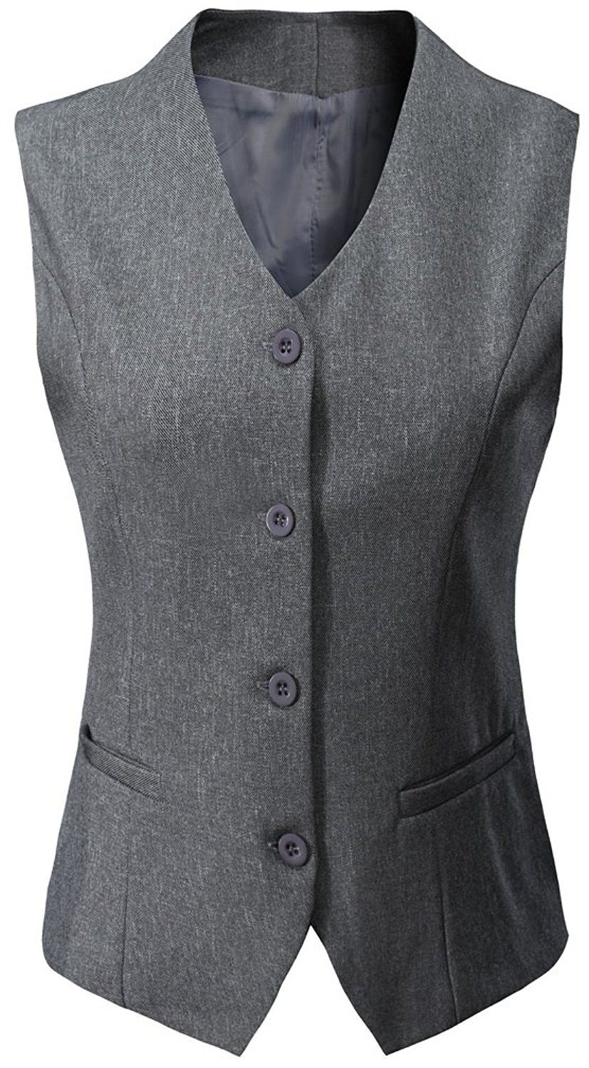 b13286cc327 Women s Formal Regular Fitted Business Dress Suits Button Down Vest ...