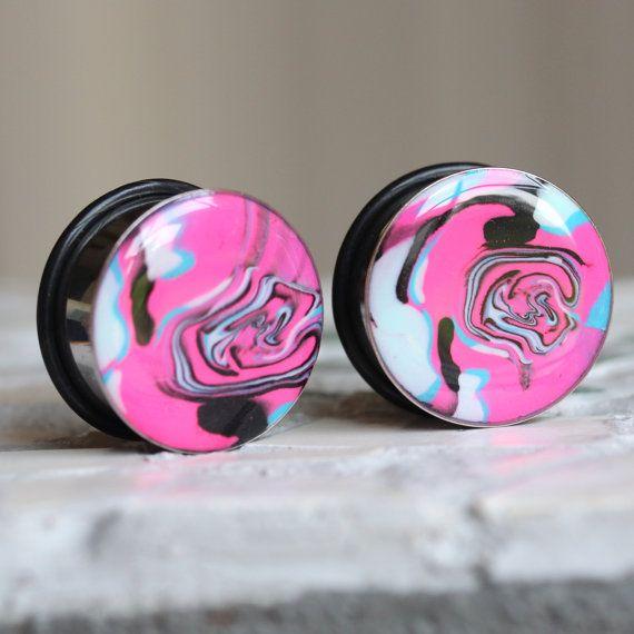 7/8 Plugs 22mm Gauges Hot Pink Plugs Art Gauges by SilverPeakPlugs