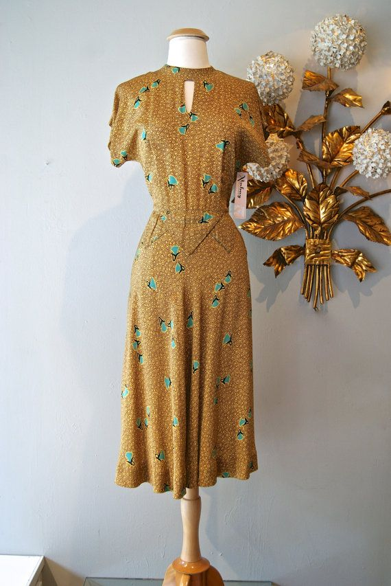 40s Dress // Vintage 1940s Gold and Turquoise by xtabayvintage, $168.00