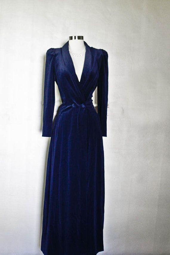 MISS ELAINE Dressing Gown Robe - Velvet Navy Blue by A. Deare | Blue ...