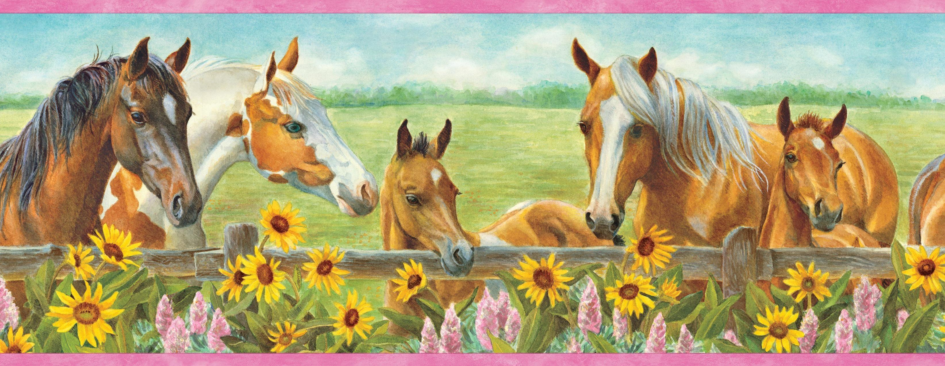 Brewster Wallcovering Harmony Pink Horses Sunflowers Portrait Border Wallpaper Horse Wallpaper Border Horse Wallpaper Wallpaper Border