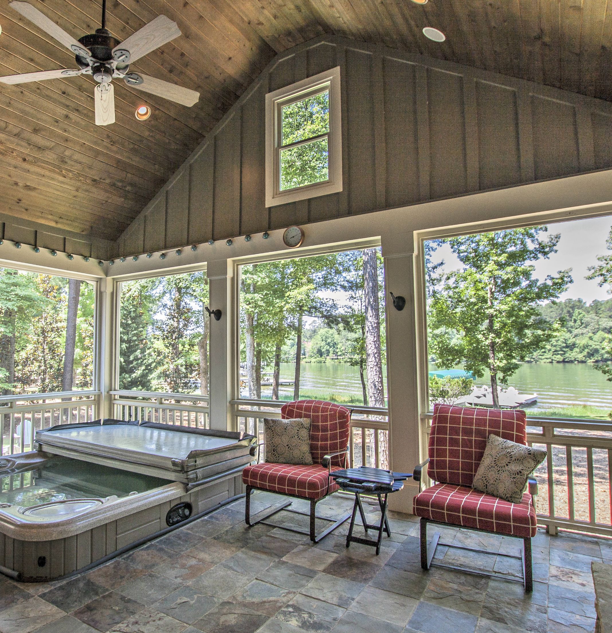 Lakeside Screened Porch With Fireplace, Hot Tub, Slate Floors And