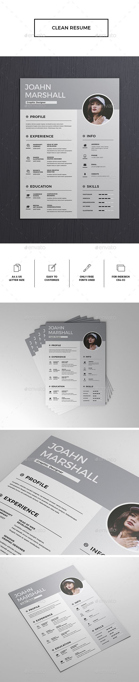 Clean Resume / CV Template InDesign INDD - A4 and US Letter Size ...