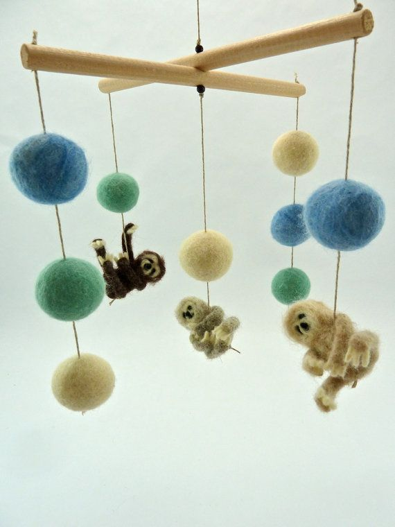 Sloth Mobile, Spring Colors, Baby Mobile, Sloth Nursery, Mint, Blue, Cream on Etsy, $180.00