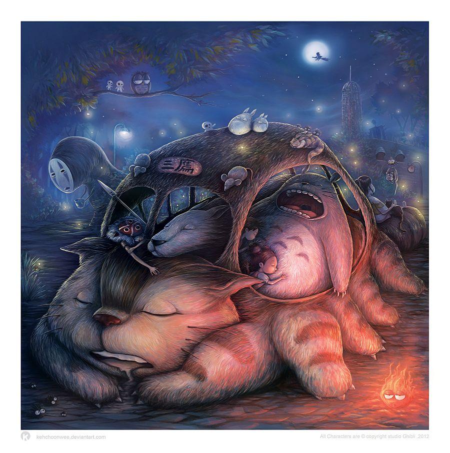Ghibli Sleepover - colored by ~kehchoonwee on deviantART
