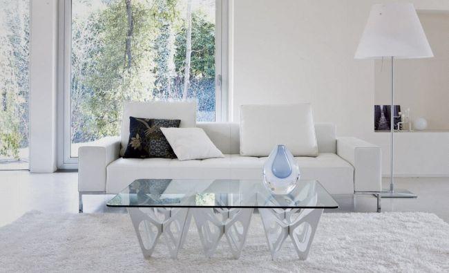 Couchtisch Design Ideen Modern Glass Weiss Schmetterlinge
