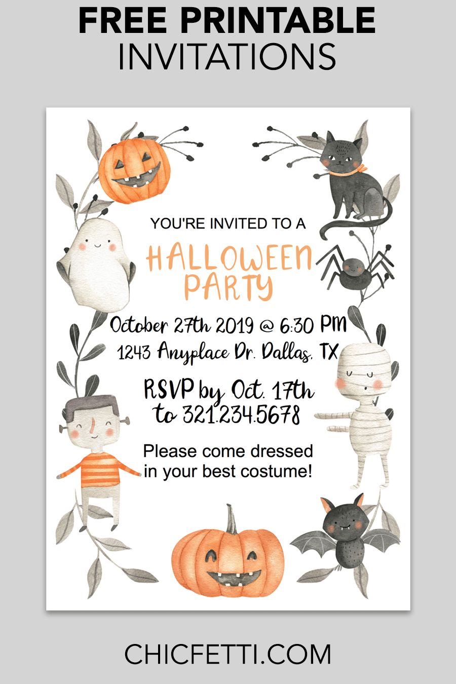 cute halloween printable invitation free printables free
