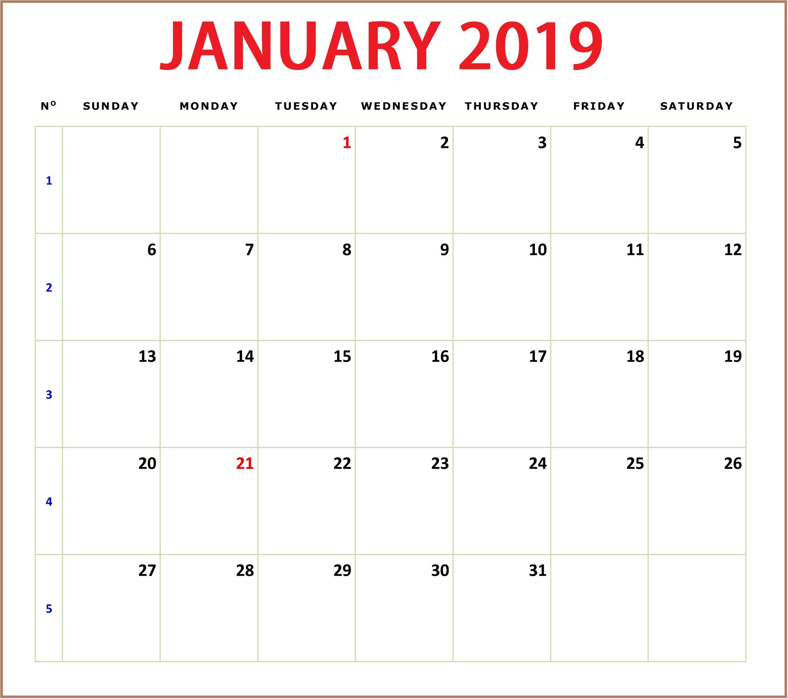 January 2019 Calendar Editable #Editable #January2019