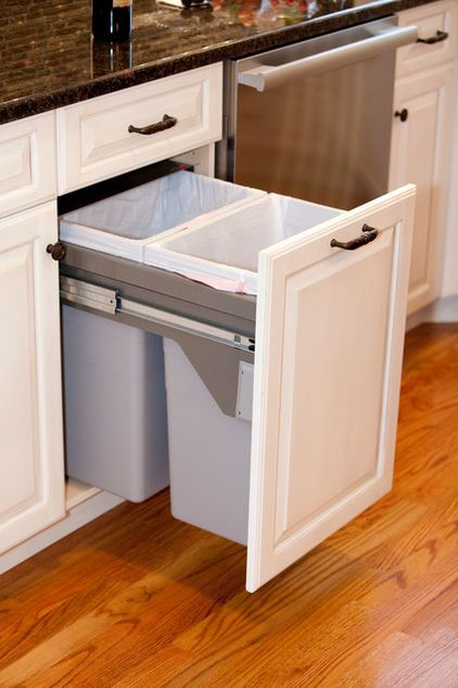 This Hidden Trash And Recycling Drawer Beside The Dishwasher And Sink Area Would Be Handy Kitchen Trash Cans Kitchen Cabinet Trends Beautiful Kitchen Cabinets