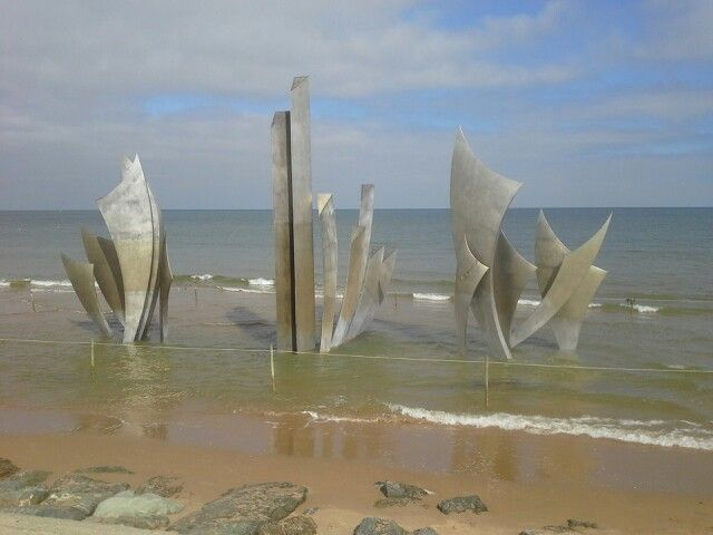 Memorial at the beach in Normandy
