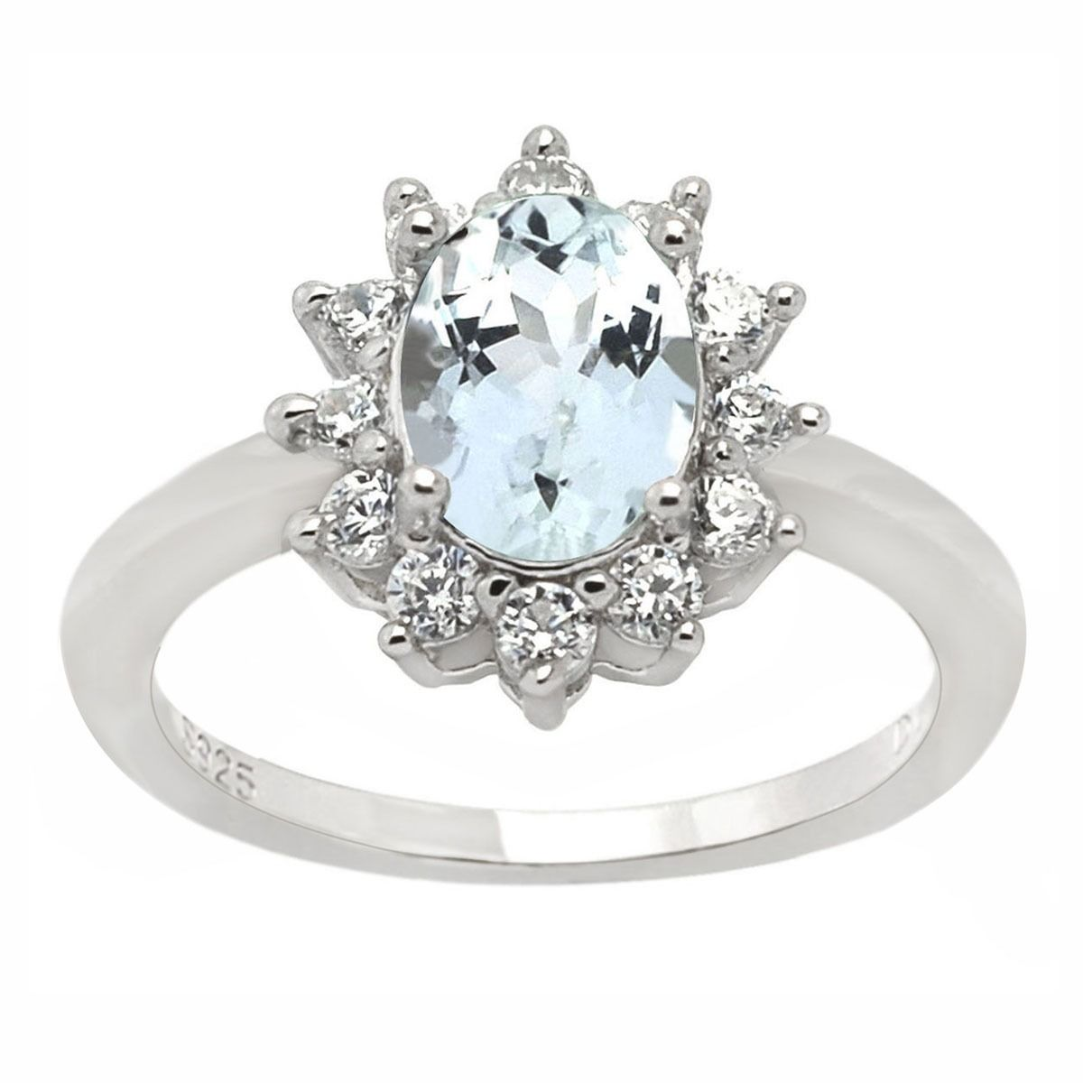 De Buman Sterling Silver Aquamarine and Cubic Zirconia Ring (Size 5.25), Women's, White
