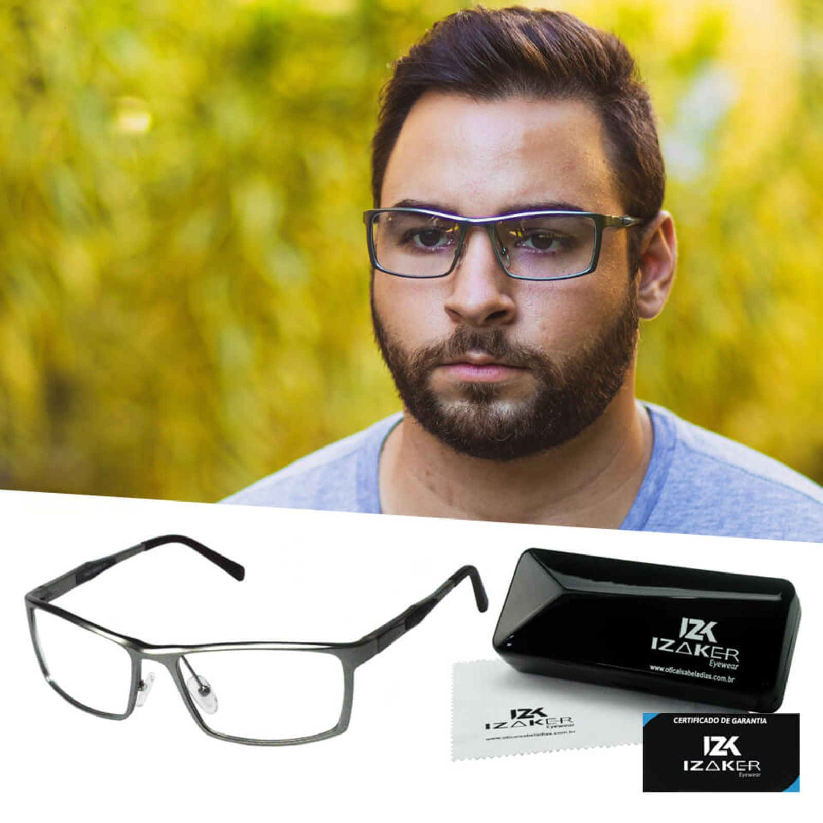Armacao Oculos Grau Masculino Aluminium Original Izaker 213