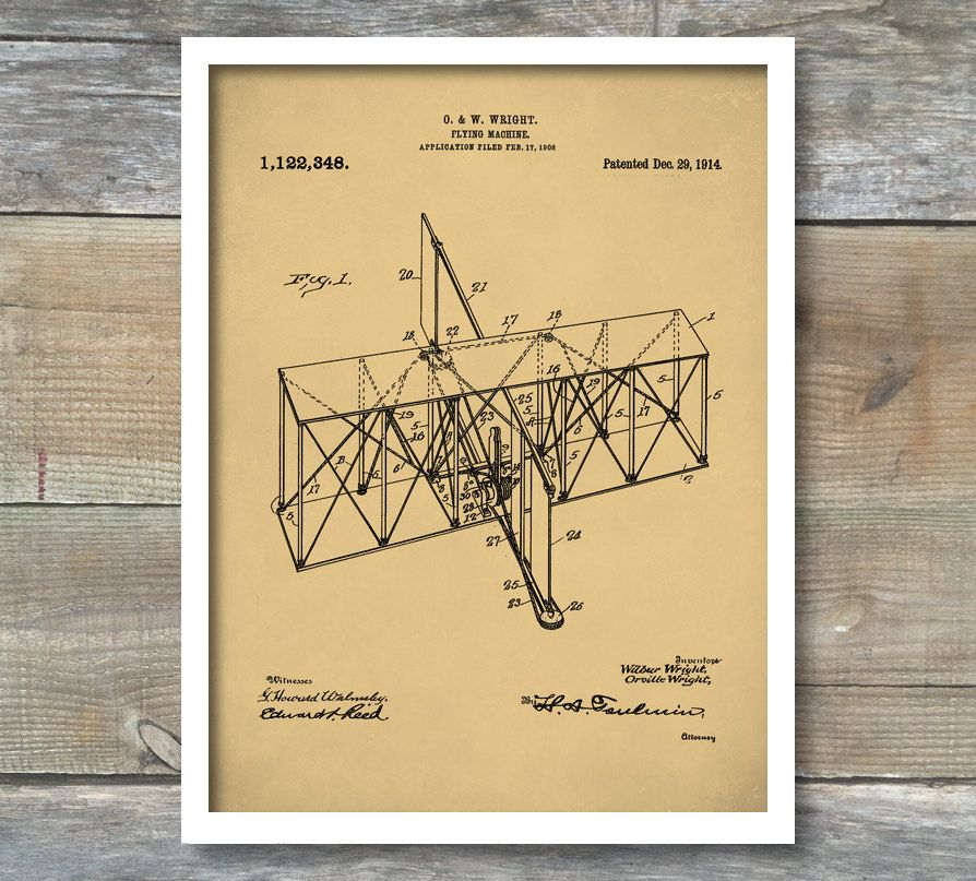 Patent Print, Airplane, Wright Brothers Airplane Patent, Airplane ...