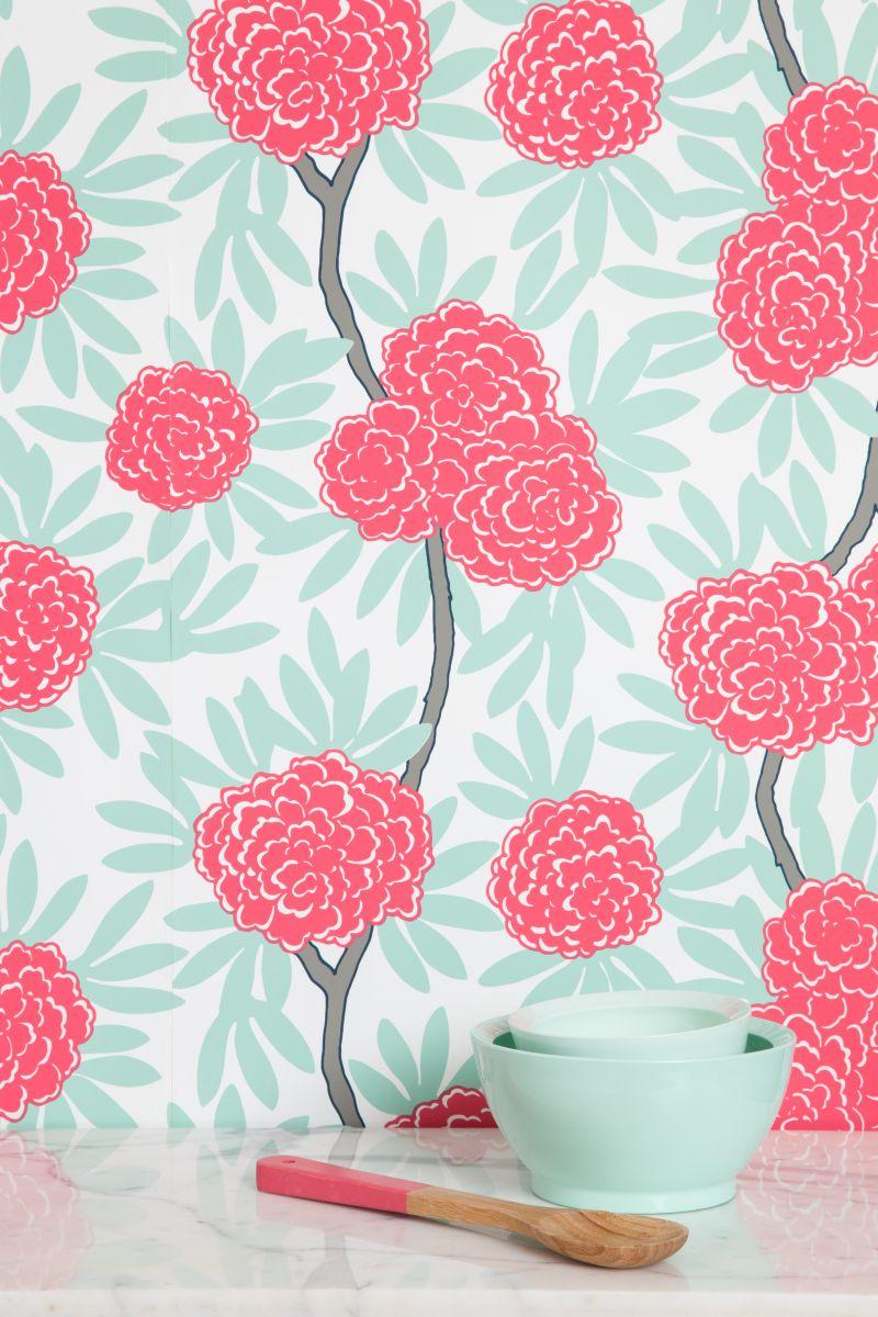 Caitlin Wilson Mint Fleur Chinoise Wallpaper Ave