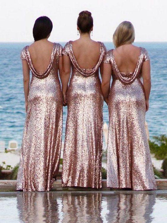 40 Rose Gold Metallic Wedding Color Ideas Rose Gold Sequin Bridesmaid Dress Gold Sequin Bridesmaid Dress Gold Bridesmaid Dresses