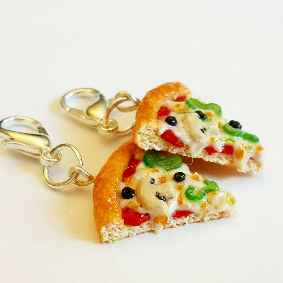 Handmade Pizza Charm or Earrings - Polymer Clay Food Pizza Charm - Miniature Food Jewelry -Vegetarian Pizza Earrings - Miniature Pizza Charm