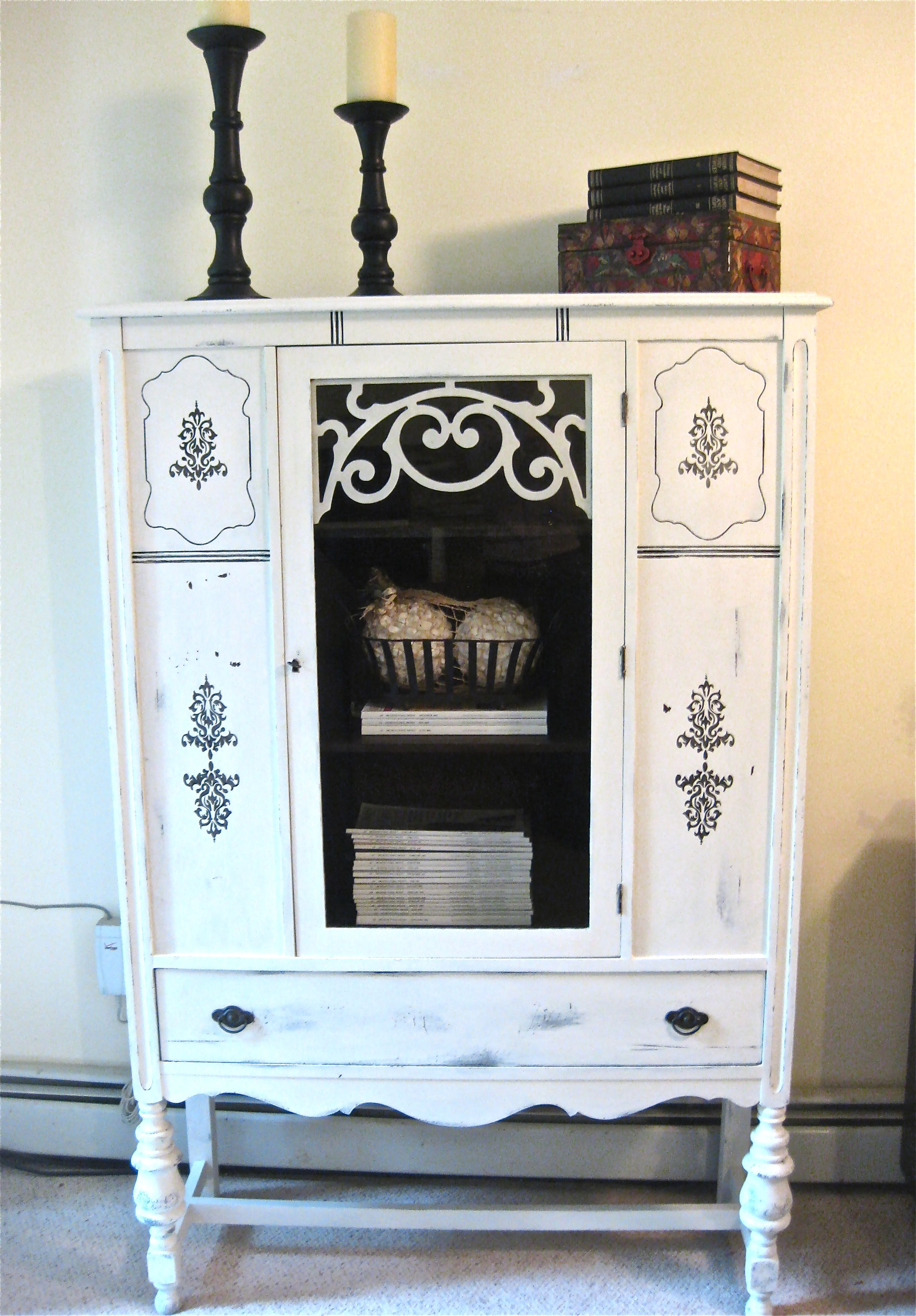 Antique China Hutch Painted White Distressed And Then Added Stencil Furniture Making