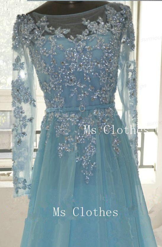 Custom Made Blue Long Sleeve Lace Wedding Dresses, Lace Bridal ...