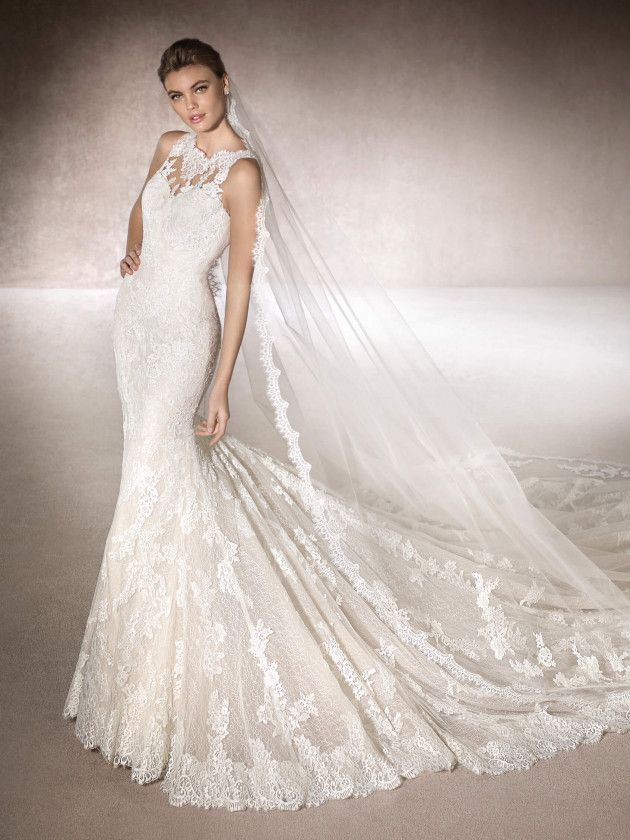 MIRIAM Romántico vestido de novia de corte sirena en tul y tul ...