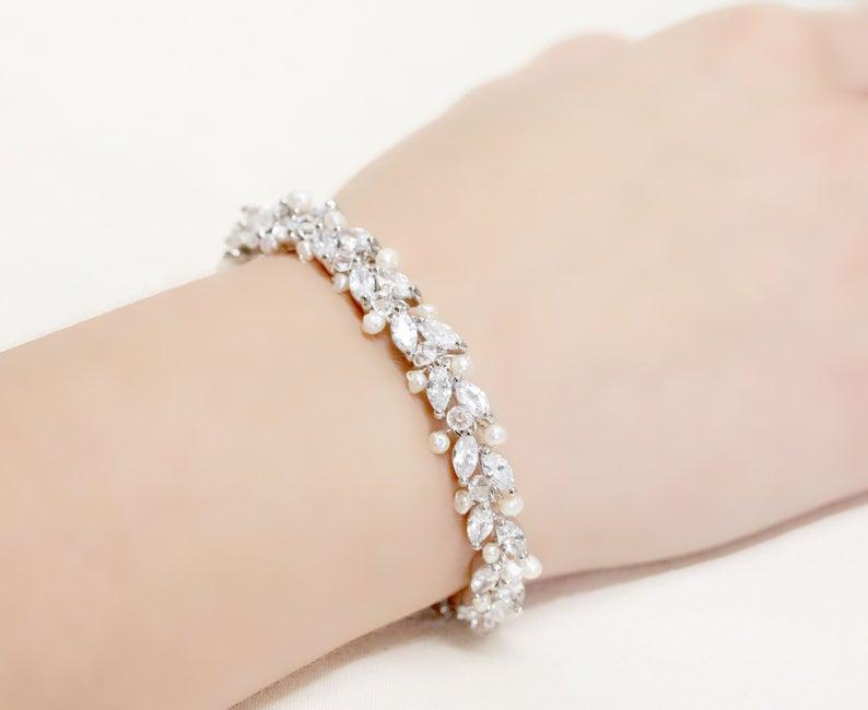 Thin Wedding Jewelry Rhinestone Freshwater Pearl And Etsy In 2020 Crystal Earrings Wedding Crystal Wedding Jewelry Wedding Jewelry Simple