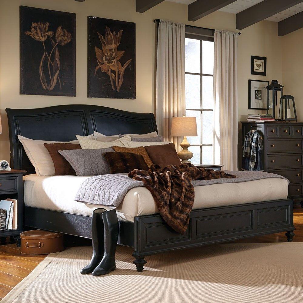 Best Ravenwood Sleigh Bed In Black By Aspenhome Queen 64 94 400 x 300