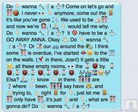 Translate Your Favorite Song Lyrics In To Emojis Your Favorite Disney S Frozen Lyrics Reenacted In Emojis Funny Texts Emoji Texts Funny Emoji Texts