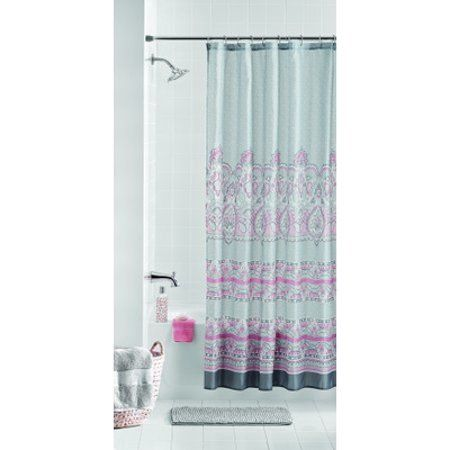 Mainstays Paisley Kagney 14 Piece Bath Set With Noodle Rug And Shower Curtain