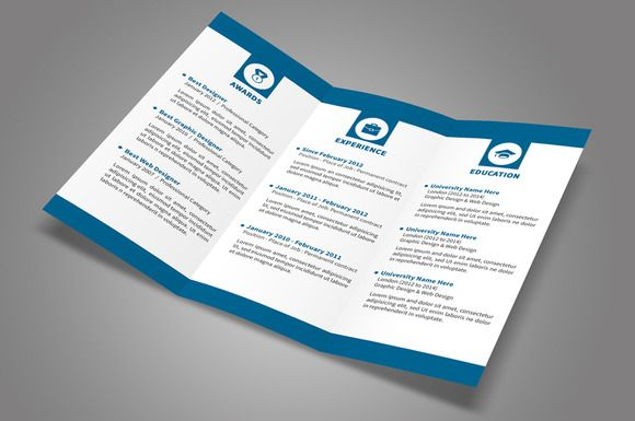 Trifold Resume  Cv Template And Resume Cv