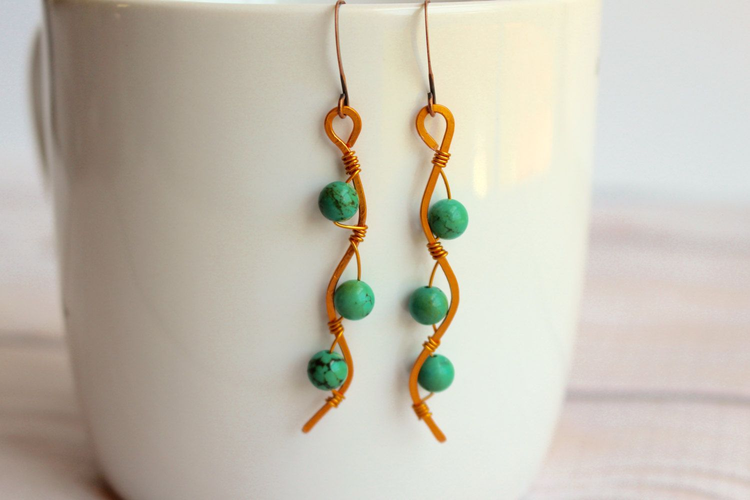 Turquoise and Copper Wavy Dangle Earrings - Handmade Wire Wrapped ...