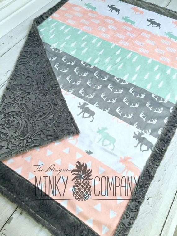 217c954f57 Minky Baby Blanket - Briar Moose Faux Quilt - Designer Minky - Grey ...