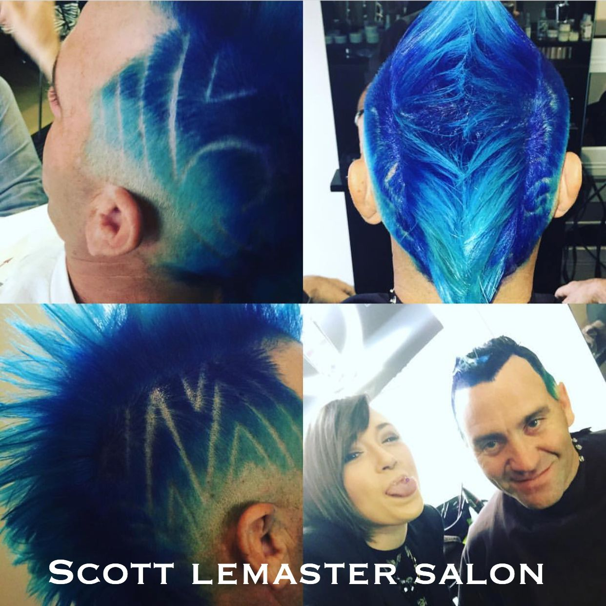 The blue hawk cut and color by jessie at scott lemaster salon