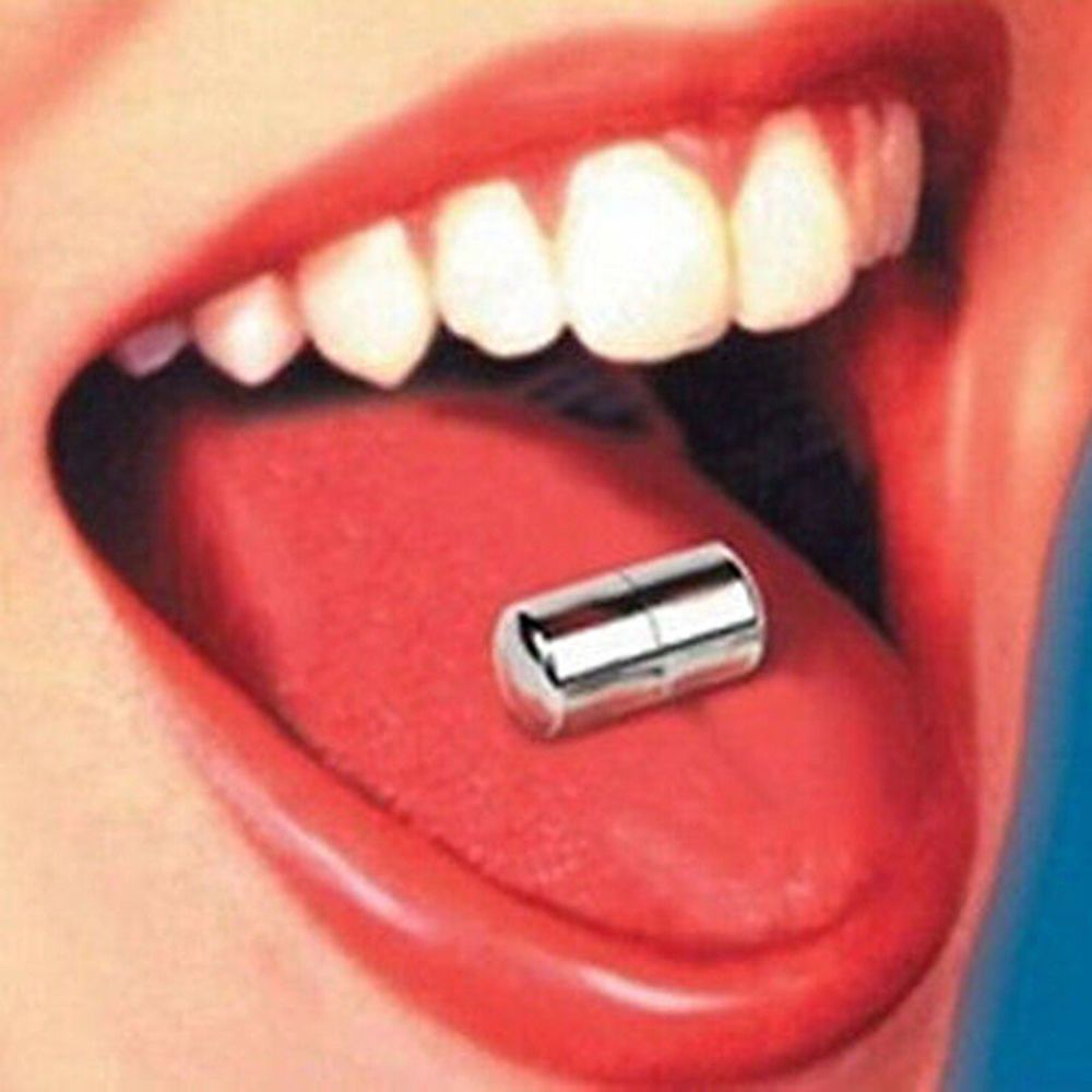 Tongue piercing vibrating bar
