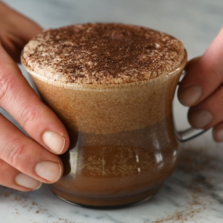 This dairy-free mocha latte recipe is so amazing you will feel like you are drinking a high-end latte from a fancy coffee shop...but in the comfort of your own home and for afraction of the price! It's easy to make, healthy (paleo, vegan, with NO refined sugar) and out-of-this-world delicious! #dairyfree #mocha #latte #recipe #paleo #vegan #healthy #mochalatte #vitamix  via @joyfoodsunshine #beverages