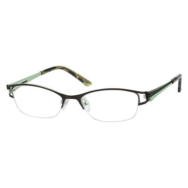 794ed76a0da Zenni Womens Rectangle Prescription Eyeglasses Half-Rim Brown Tortoiseshell  Stainless Steel 694015
