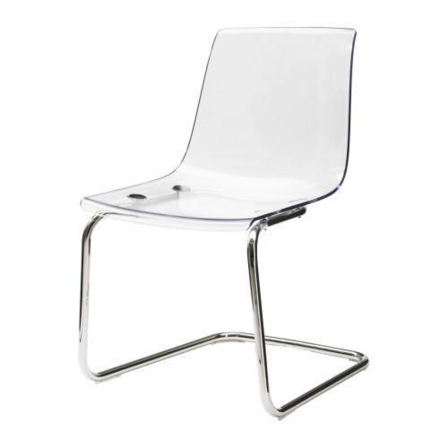 NEU IKEA TOBIAS Stuhl Transparent Verchromt Büro Modern