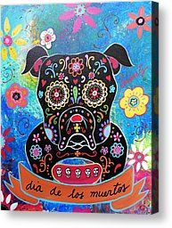 Bulldog Dia De Los Muertos Painting by Pristine Cartera Turkus - Bulldog Dia De Los Muertos Fine Art Prints and Posters for Sale