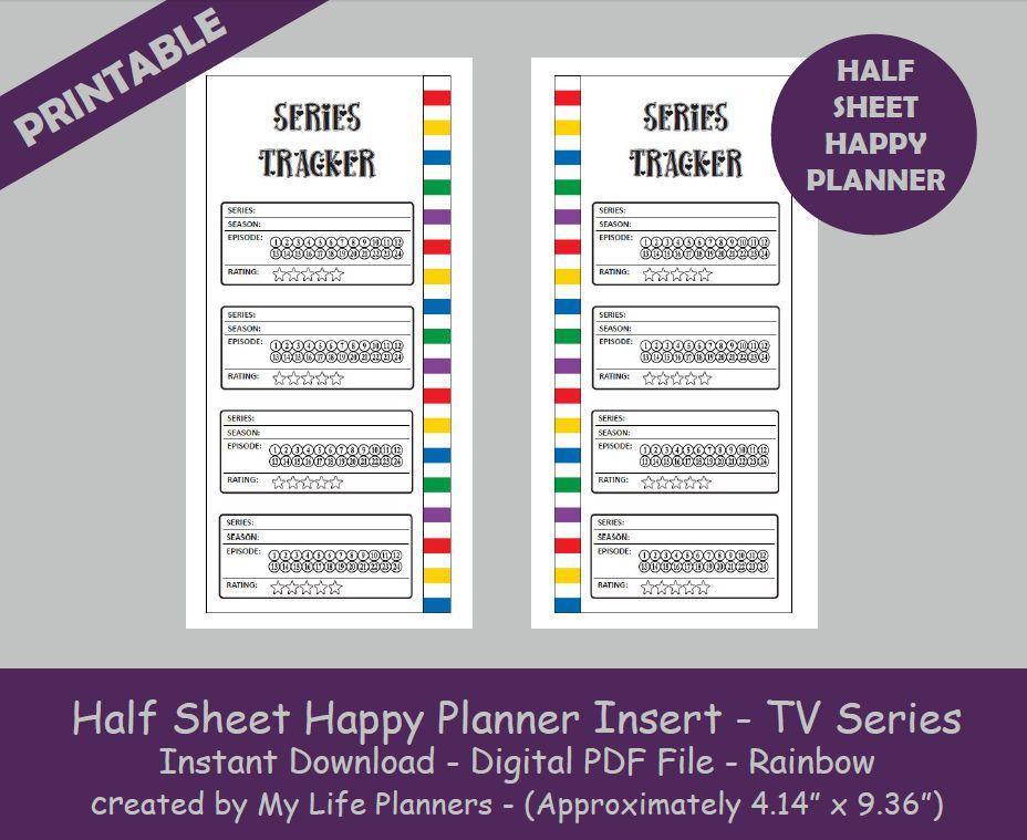 Tv Series Tracker Half Sheet Happy Planner Inserts Rainbow