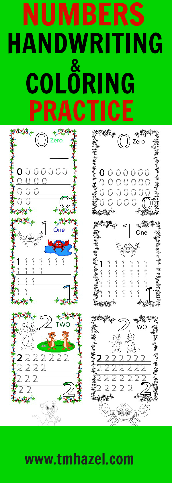 NUMBERS HANDWRITING and COLORING PRACTICE!!!numbers activities ...