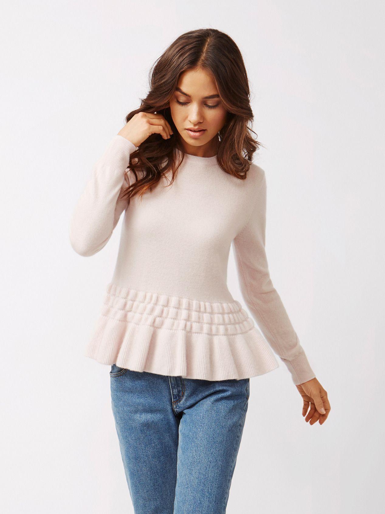 5d39f189674 Soft Goat Women s Bottom Ruffle Sweater Marshmallow