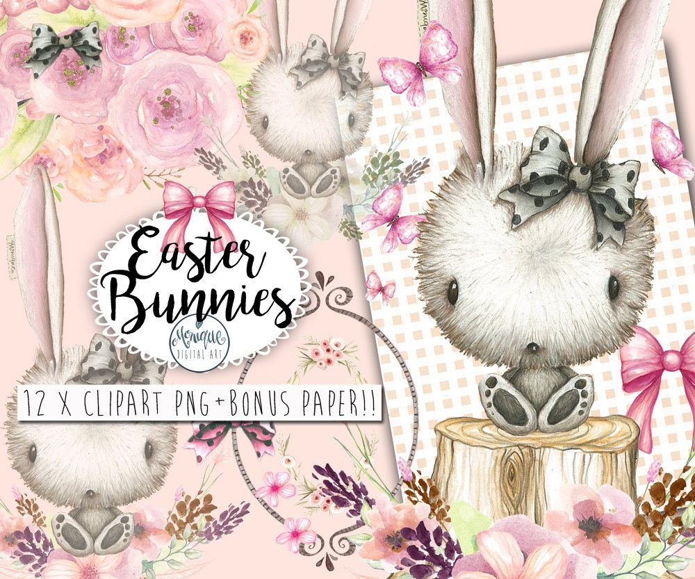 clipart easter bunny clipart easter watercolor woodland bows cute bunny floral wreath crown clipart planner pages planner girl by moniquedigitalart  [ 1000 x 833 Pixel ]
