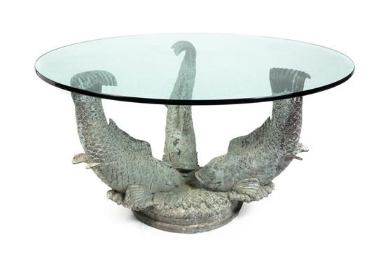 A Chinese Patinated Bronze Glass Top Table Base  | Palm Beach Winter Auction | February 19, 2016 in West Palm Beach, Florida